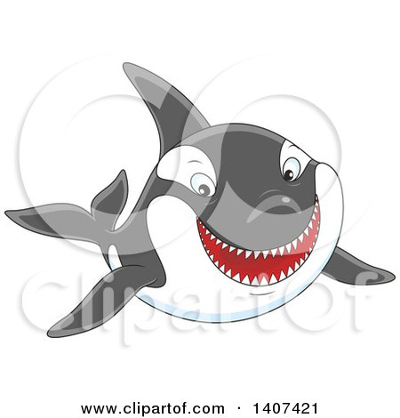 Clipart of a Happy Killer Whale Orca Swimming - Royalty Free Vector Illustration by Alex Bannykh