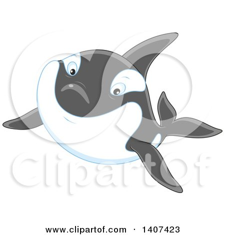 Clipart of a Killer Whale Orca Swimming - Royalty Free Vector Illustration by Alex Bannykh