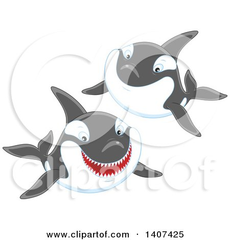 Clipart of Killer Whale Orcas Swimming - Royalty Free Vector Illustration by Alex Bannykh