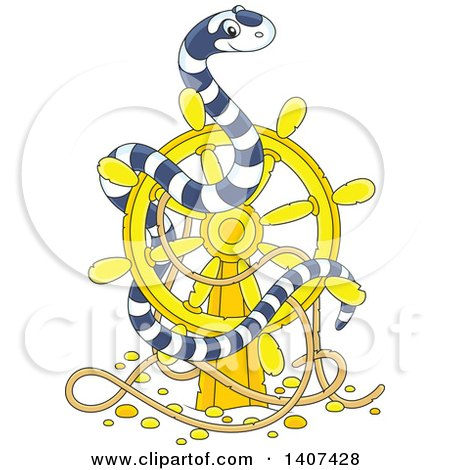Clipart of a Cute Black and White Striped Sea Snake on a Sunken Ship Helm - Royalty Free Vector Illustration by Alex Bannykh