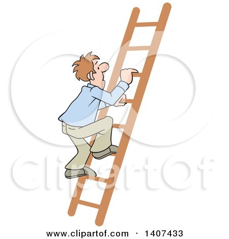 Clipart of a Cartoon Caucasian Business Man Climbing up a Ladder - Royalty Free Vector Illustration by Johnny Sajem