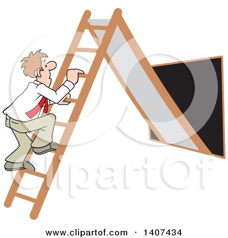 Clipart of a Cartoon Caucasian Business Man Climbing up the Corporate Ladder - Royalty Free Vector Illustration by Johnny Sajem