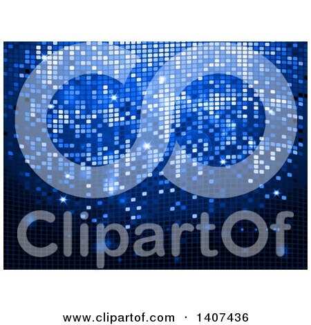 Clipart of a Blue Disco Ball Party Background with Sparkles and Flares - Royalty Free Vector Illustration by elaineitalia