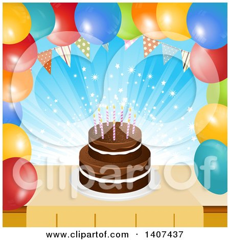Clipart of a Chocolate Birthday Cake in a Border of Party Balloons and a Bunting - Royalty Free Vector Illustration by elaineitalia