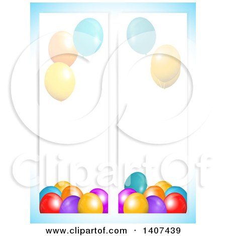 Clipart of Party Balloon Banners over Gradient Blue - Royalty Free Vector Illustration by elaineitalia