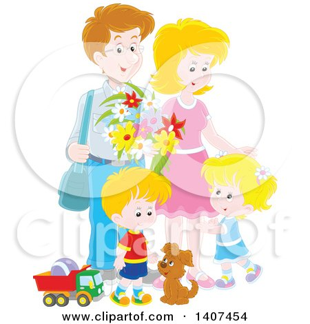 Clipart of a Happy White Family of Four with a Puppy and Toys - Royalty Free Vector Illustration by Alex Bannykh