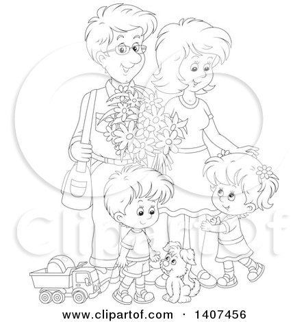 Clipart of a Black and White Lineart Happy Family of Four with a Puppy and Toys - Royalty Free Vector Illustration by Alex Bannykh