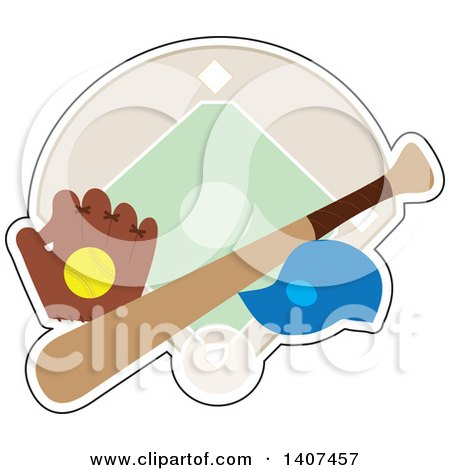 Clipart of a Softball in a Glove, Cap and Bat over a Diamond - Royalty Free Vector Illustration by Maria Bell