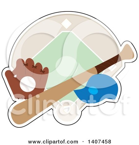 Clipart Of A Baseball In A Glove Cap And Bat Over A Diamond Royalty Free Vector Illustration