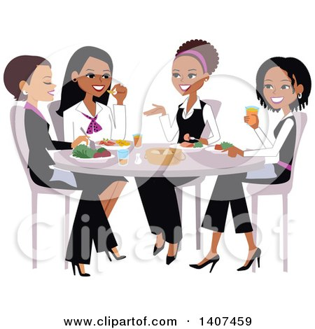 Group of Ladies Chatting Over Lunch Posters, Art Prints