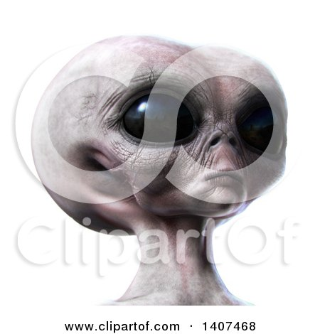 Clipart of a 3d Alien, on a White Background - Royalty Free Illustration by Leo Blanchette