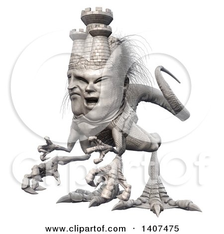 Clipart of a 3d Mason Monster, on a White Background - Royalty Free Illustration by Leo Blanchette