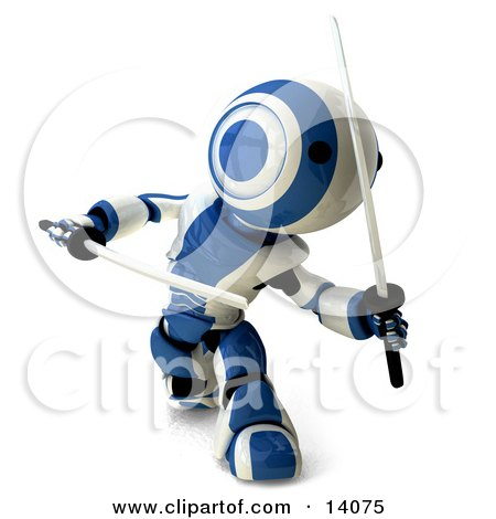 Blue And White Ninja Robot Fighting With Katanas Clipart Illustration