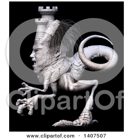 Clipart of a 3d Mason Monster, on a Black Background - Royalty Free Illustration by Leo Blanchette