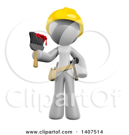 Clipart of a 3d White Female Painter Wearing a Hardhat and Holding a Paintbrush, on a White Background - Royalty Free Illustration by Leo Blanchette