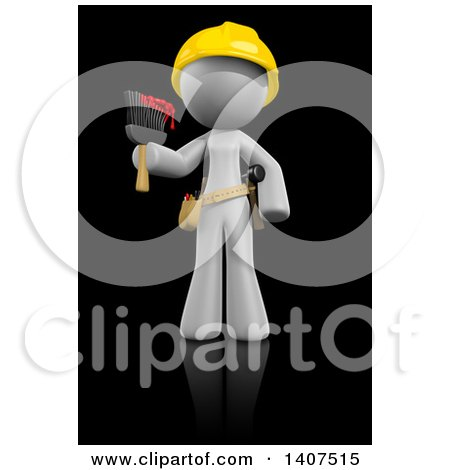 Clipart of a 3d White Female Painter Wearing a Hardhat and Holding a Paintbrush, on a Black Background - Royalty Free Illustration by Leo Blanchette
