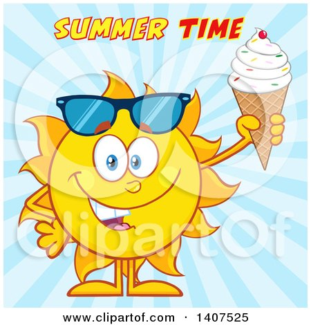 Clipart of a Yellow Summer Time Sun Character Mascot Holding a Waffle Ice Cream Cone over Blue Rays - Royalty Free Vector Illustration by Hit Toon