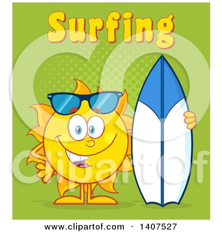 Clipart of a Yellow Summer Time Sun Character Mascot Standing with a Surfboard, with Text on Green - Royalty Free Vector Illustration by Hit Toon
