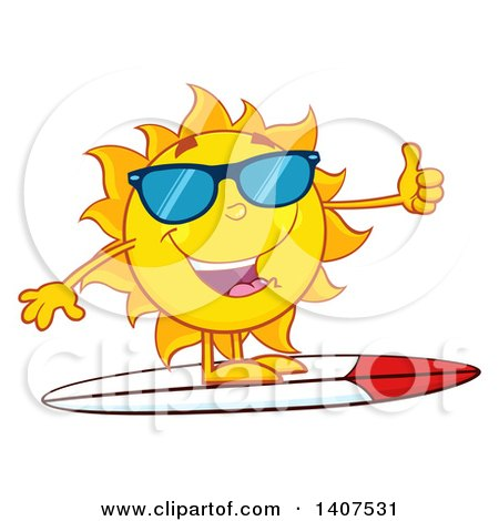 Clipart of a Yellow Summer Time Sun Character Mascot Wearing Shades, Giving a Thumb up and Surfing - Royalty Free Vector Illustration by Hit Toon