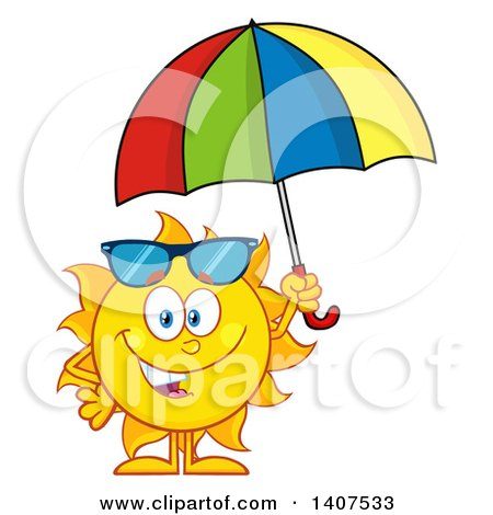 Clipart Of A Yellow Summer Time Sun Character Mascot Holding An Umbrella Royalty Free Vector Illustration