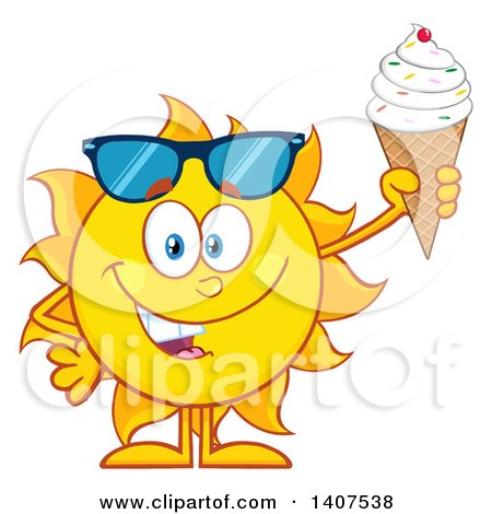 Clipart of a Yellow Summer Time Sun Character Mascot Holding a Waffle Ice Cream Cone - Royalty Free Vector Illustration by Hit Toon