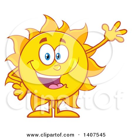 Clipart Of A Yellow Summer Time Sun Character Mascot Waving Royalty Free Vector Illustration