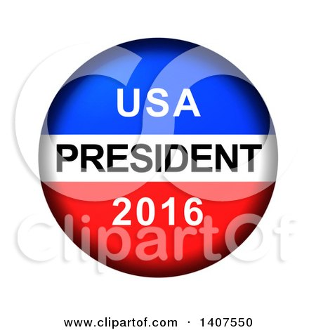 Clipart of a Red White and Blue Patriotic American USA President 2016 Vote Button on a White Background - Royalty Free Illustration by oboy