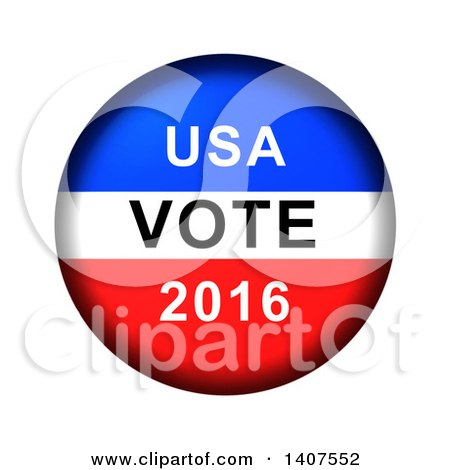 Clipart of a Red White and Blue Patriotic American USA Vote 2016 Button on a White Background - Royalty Free Illustration by oboy