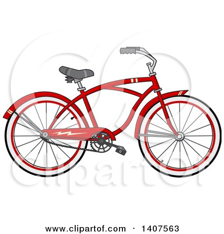 Clipart of a Cartoon Red Bicycle - Royalty Free Vector Illustration by djart