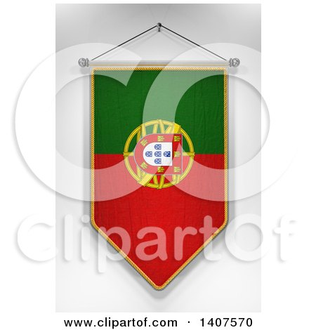 Clipart of a 3d Hanging Portuguese Flag Pennant, on a Shaded Background - Royalty Free Illustration by stockillustrations