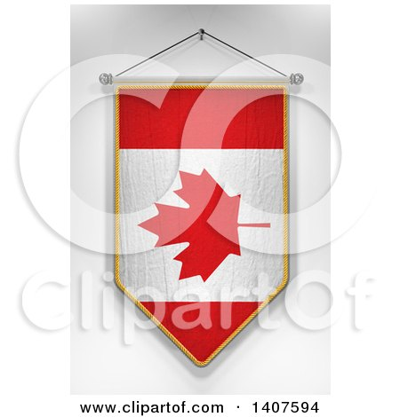 Clipart of a 3d Hanging Canadian Flag Pennant, on a Shaded Background - Royalty Free Illustration by stockillustrations