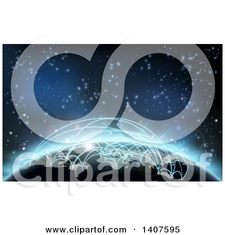 Clipart Of A 3d Earth Globe With Glowing Flight Paths Against Outer Space Royalty Free Vector Illustration