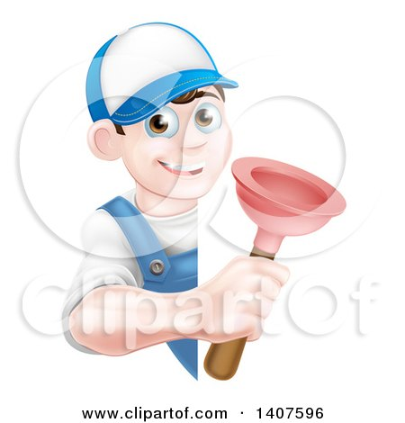 Clipart of a Young Brunette White Male Plumber Holding a Plunger Around a Sign - Royalty Free Vector Illustration by AtStockIllustration