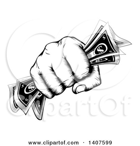 Clipart of a Black and White Woodcut or Engraved Revolutionary Fisted Hand Holding Cash Money - Royalty Free Vector Illustration by AtStockIllustration
