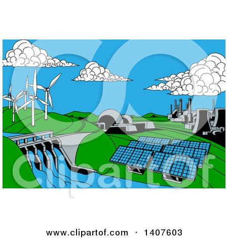 Clipart of a Cartoon Landscape of Renewable Energy Plants with a Dam, Solar Panels, Wind Turbines, Coal Plants and Nuclear Plants - Royalty Free Vector Illustration by AtStockIllustration