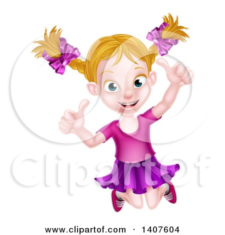 Clipart of a Happy Blond White Girl Jumping and Giving Two Thumbs up - Royalty Free Vector Illustration by AtStockIllustration