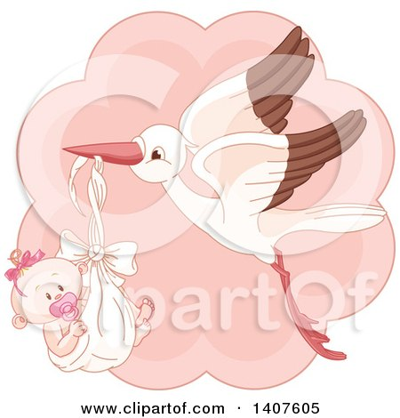 Clipart of a Happy Baby Girl in a Stork Bundle over Pink - Royalty Free Vector Illustration by Pushkin