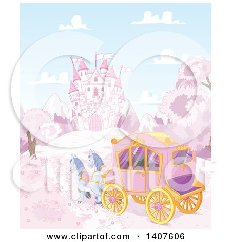 Clipart of Horses Pulling a Carriage near a Fairy Tale Castle in a Pink Land - Royalty Free Vector Illustration by Pushkin