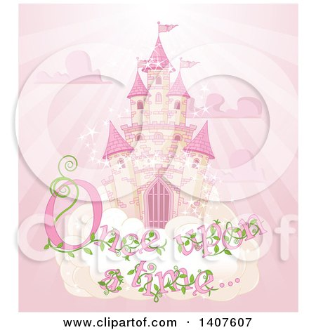 Clipart of a Magical Fairy Tale Castle in the Sky, with Once upon a Time Text over Pink Rays - Royalty Free Vector Illustration by Pushkin