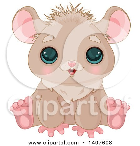 Clipart of a Cute Brown Hamster with Big Eyes, Sitting and Smiling - Royalty Free Vector Illustration by Pushkin