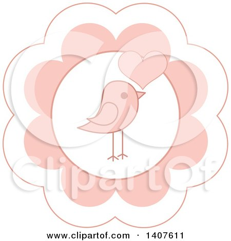 Clipart of a Cute Baby Bird Design in a Pink Flower, with a Heart - Royalty Free Vector Illustration by Pushkin
