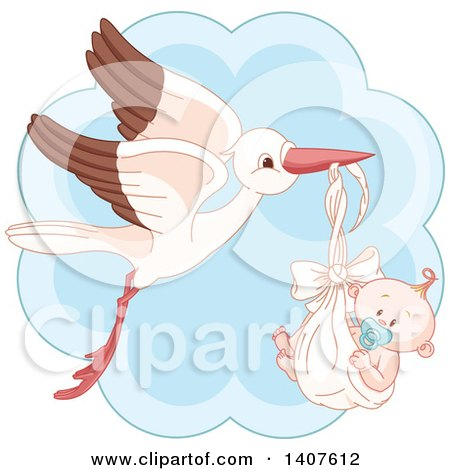 Clipart of a Happy Baby Boy in a Stork Bundle over Blue - Royalty Free Vector Illustration by Pushkin