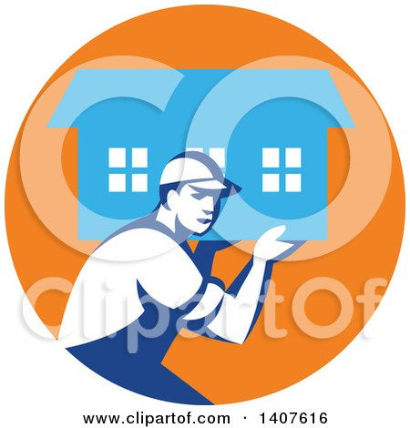 Clipart of a Retro Male Mover Carrying a House in an Orange and Blue Circle - Royalty Free Vector Illustration by patrimonio