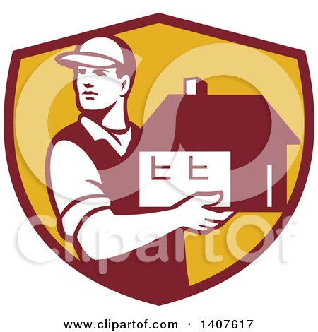 Clipart of a Retro Male Mover Holding a House in a Maroon and Yellow Shield - Royalty Free Vector Illustration by patrimonio