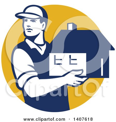 Clipart of a Retro Male Mover Holding a House in a Yellow Circle - Royalty Free Vector Illustration by patrimonio