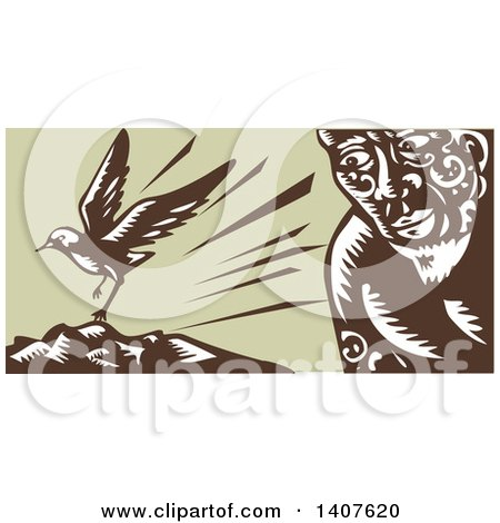 Clipart of a Retro Woodcut of a God, Tagaloa, Looking at His Plover Bird Daughter Landing on a Treeless Island - Royalty Free Vector Illustration by patrimonio