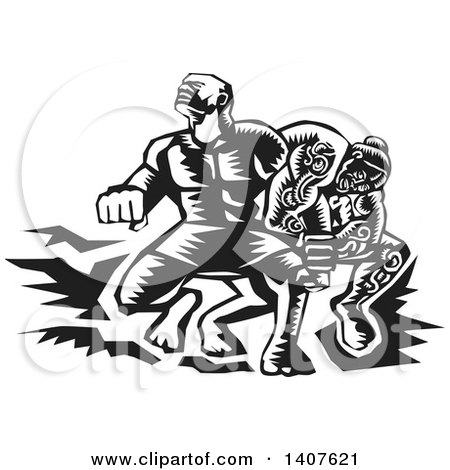 Clipart of a Black and White Retro Woodcut Scene of Samoan Tiitii Wrestling the God of Earthquake and Breaking His Arm - Royalty Free Vector Illustration by patrimonio