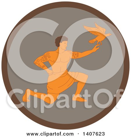 Clipart of a Retro Scene of a Samoan God, Tagaloa, Kneeling and Releasing His Plover Bird Daughter in a Brown Circle - Royalty Free Vector Illustration by patrimonio