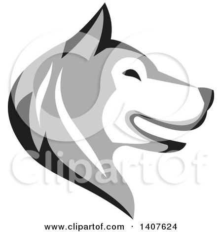 Clipart of a Retro Alaskan Malamute Husky Dog Head in Profile - Royalty Free Vector Illustration by patrimonio