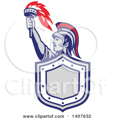 Clipart of a Retro Angry Greek Warrior Holding up a Flaming Torch and Shield - Royalty Free Vector Illustration by patrimonio